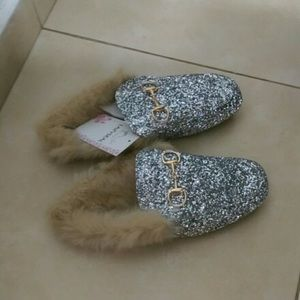 Real Animal Fur Slippers With silver  Bling